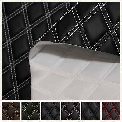 Black Double Stitch Diamond Bentley Car Quilted 6mm Scrim Foam Upholstery Fabric