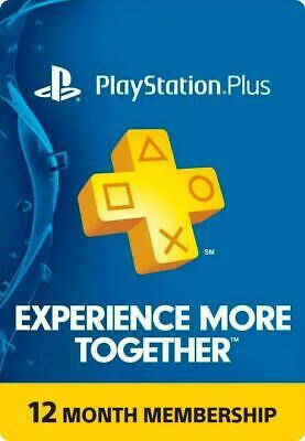 PlayStation Plus 1 Year 12 Month 365 Day PSN Membership Code PS4 PS3 PS Vita USA