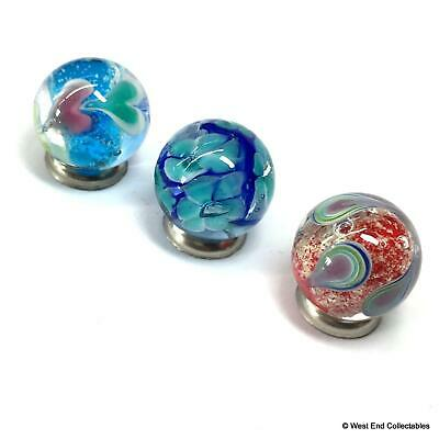 3 x 16mm Handmade Marbles - Glow in the Dark Glass Art Toy Marbles & Gift Bag