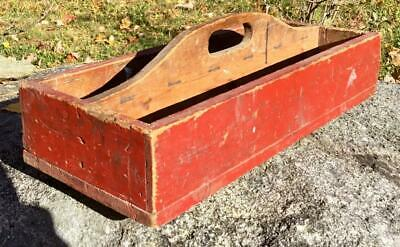 Antique Primitive Old Original Brick Red Paint Wooden Handled Tool Caddy Carrier