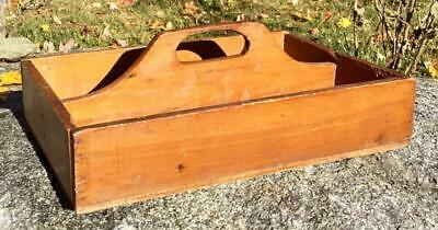 Vintage Wooden Utensil Cutlery Knife Box Tray w/Center Handle Country Primitive
