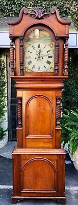 Antique 19c English Fruitwood Grandfather Clock