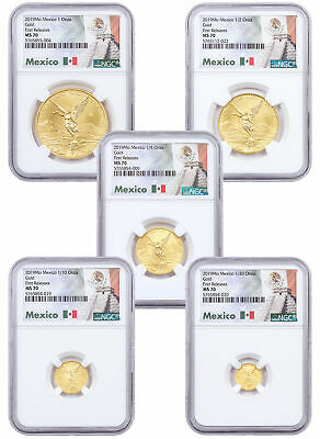 5 Coin Set 2019 Mo Mexico Gold Libertad Coins NGC MS70 FR Exclusive SKU59827