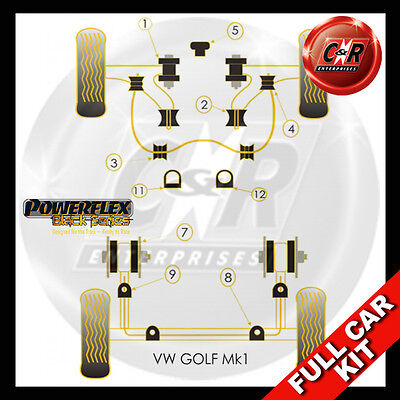VW Golf MK1 (73-85) Powerflex Schwarz Komplett Bush Set