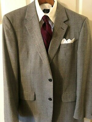 Jos. A. Bank Wool Worsted Prince of Wales Gray Plaid 2B Suit 43L EUC TRAD Ivy