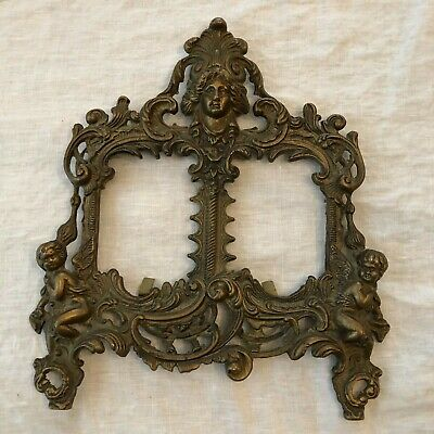 Vintage Ornate Brass Double Picture Stand Cherubs Heavy Cast Iron
