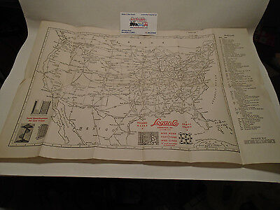 "1942 Vintage Map Of Railroads In United States 13"" X 19"""