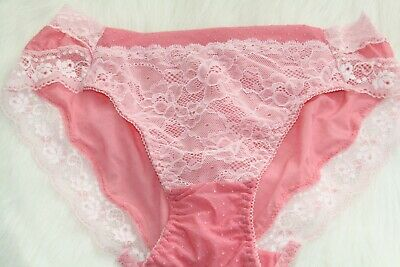 Coral Princess Lacy Girly Prissy Floral Lace Front Sissy Bikinis Panties M
