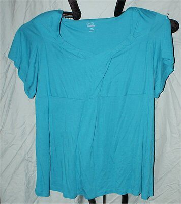 Only Necessities Blue Baby Doll Soft Shirt 4 X Womans Top