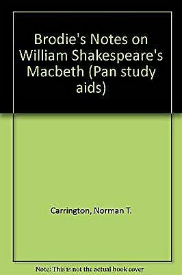 "Brodies Notes on William Shakespeares ""Macbeth"" (Pan study aids), Carrington, No"
