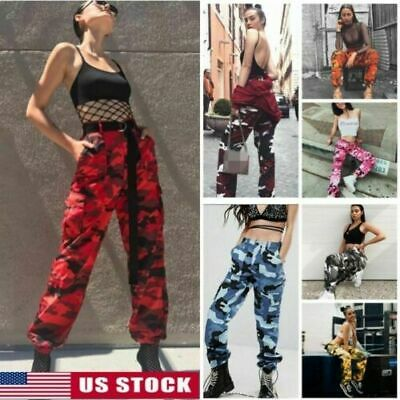 Womens Camo Trousers Casual Military Army Sports Joggers Cargo Combat Long Pants