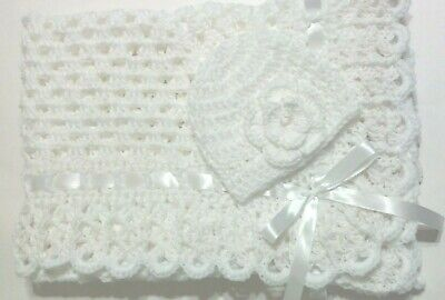 Crochet White Christening, Baptism Baby Blanket Set with Matching Hat Girls