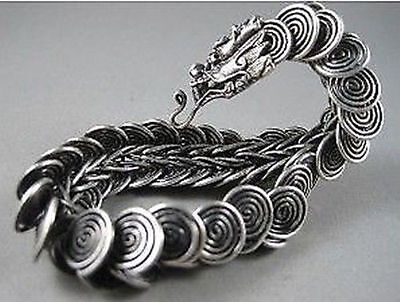Chinese Tibet silver carved dragon Head Men bracelet a307