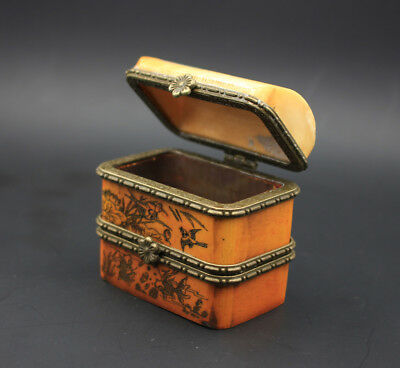 CHINESE ANTIQUES BONE DOUBLE-DECK SMALL BOX CASKET JEWEL CASE  a318