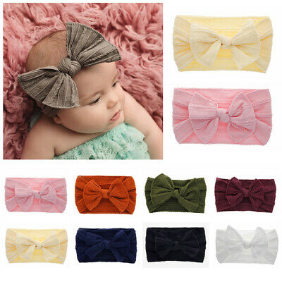 Newborn Baby Nylon Headband Solid Color Stretch Knotted Turban Hairband UK