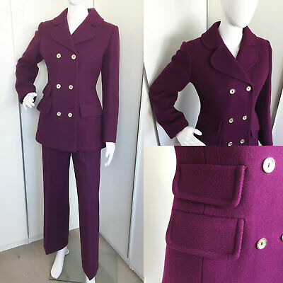 Vintage 1960s 1970s Purple Wool Trouser Suit Pea Coat Double Breasted Size S 810