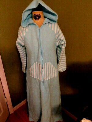 Poly Fleece L/Sleeve Zipper Up Hooded Nightgown 55 Long Ladies Small 8-10 Nwt