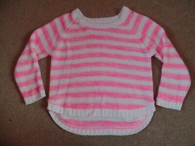Girls Pink & White Striped Jumper Age 11/12 Years From Primark