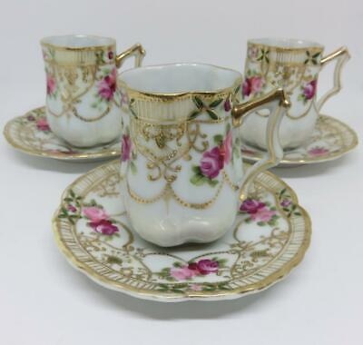 """Antique Nippon Cup & Saucer w/Fancy Handle~Hand Painted""""M in Wreath"""" #47 ca 1911"""