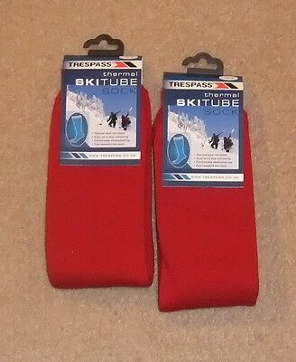 New 2 Pairs Trespass Junior  Ski Tube Socks Uk 12 - 3  Red