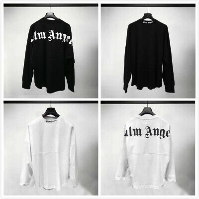 2019 Uomo Donne Nuovo PALM ANGELS Casuale Manica Lunga JUSTIN BIEBER Hip Hop Top