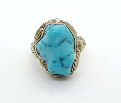 Antique Chinese Export Silver Ornate Turquoise Nugget Adjustable Ring, 9.1g