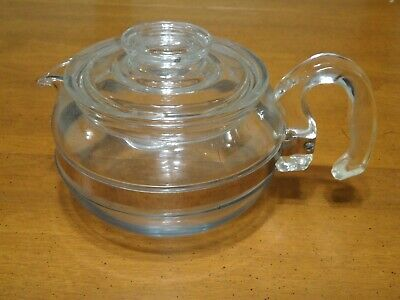 Vintage PYREX Teapot Flameware 8446-B Glass 6 Cup Stovetop Kettle With Lid
