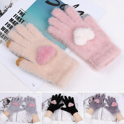 Fashion Cute Girls Heart Winter Wool Warm Knitted Gloves Full Finger Mittens