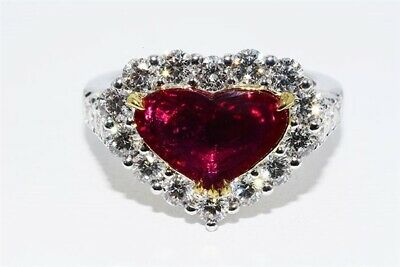 $24,500 3.49ct AGL Certified Natural No Heat Ruby & Diamond Cocktail Ring 18K