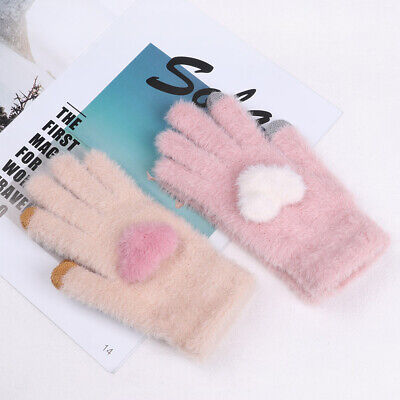 Fashion Cute Girls Heart Winter Wool Warm Knitted Gloves Full Finger Mittens .
