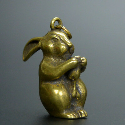 Chinese old collection handwork bronze Zodiac rabbit statue Pendant a508
