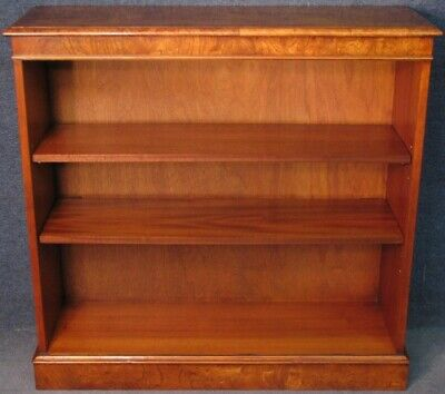 Burr Walnut And Mahogany Low Bookcase