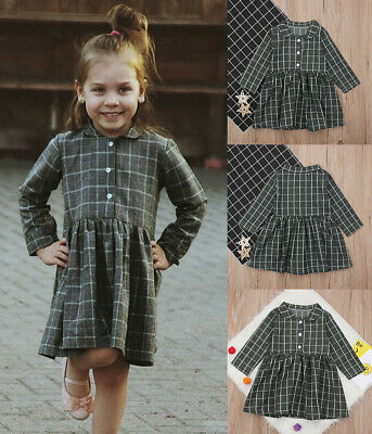 Plaid Girl Summer Casual Dress Kids Party Pageant Princess Dresses Clothes F