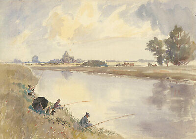 Early 20th Century Watercolour - Fishing by the River