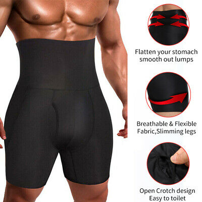 Men Compression High Waist Shorts Body Shaper Seamless Belly Girdle Boxer Briefs