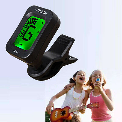 Compact Tiger Guitar Tuner Clip-On LCD Display for Guitar Ukulele Bass UK