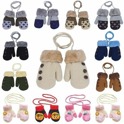 Warm Cotton with Rope Baby Knitted Gloves Full Finger Mittens For 0-12 Month