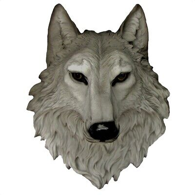 3D Life Size Gray Wolf Head Wall Mount Grey Remus Bust Man Cave Lodge Home Decor