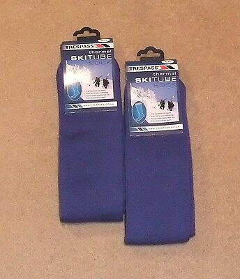 New 2 Pairs Trespass Gents  Ski Tube Socks Uk 4 -11 Royal Blue