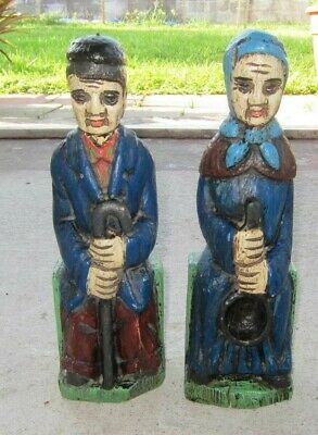 """Vintage Old Man & Woman Hand Painted Carved Figures Bookends 12.5"""" Tall"""