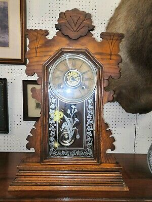Ansonia 8 Day Gingerbread Clock c. 1905 in good condition and with key