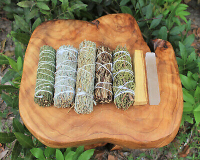 Palo Santo & 5 Sage Smudge Sticks & Selenite Stick (7 Piece Sampler Set)