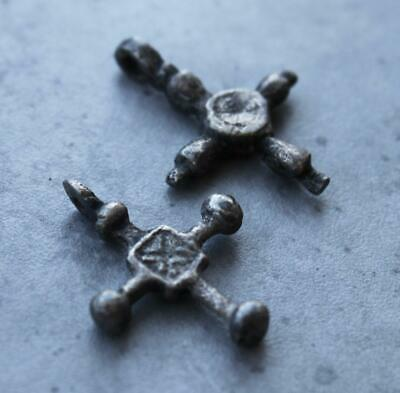 Lot of 2 Early Medieval Viking Silver Crosses - 10th – 12th century AD