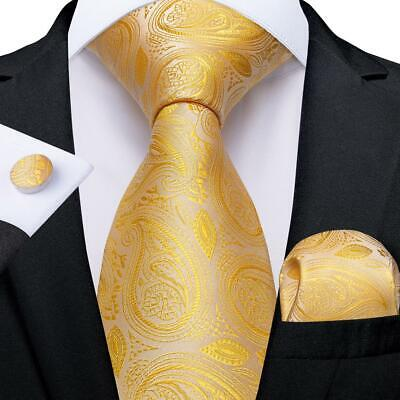 UK Gold Paisley Silk Tie Set Mens Necktie Pocket Square Cufflinks Wedding Party