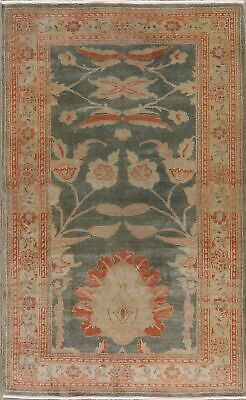 Vegetable Dye Green Egyptian Oushak Oriental Area Rug Wool Hand-Knotted 4'x6'