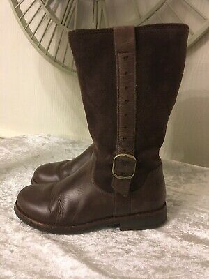 "Girls Brown Leather Knee High Boots By""CLARKS"" size 11 Uk"