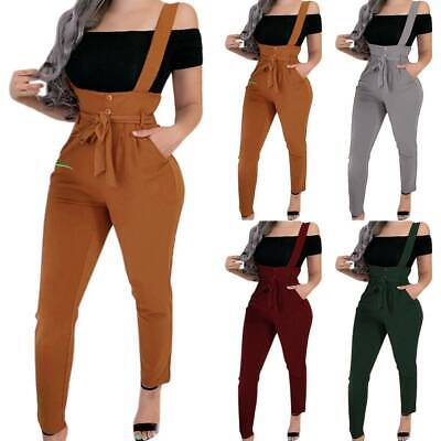Womens Bib Overall Dungarees High Waist Skinny Pants Casual Trousers Jumpsuit
