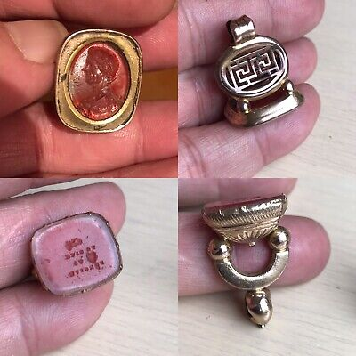2 Antique 19th C 9ct Gold Cornelian Agate Intaglio Roman Wax Seal Fob For Chain