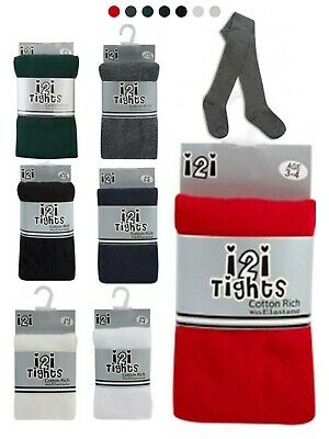 1X Kids Girls Cotton Rich School Tights Winter Warm Thick Multi Colour All Sizes