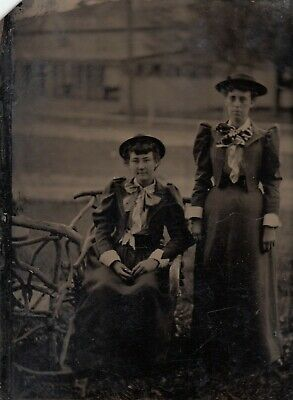 Antique Tintype Photo Women on Wooden Branch Bench Victorian Fashion Dresses